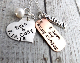 Army necklace-personalized necklace-handstamped-army ranger-military necklace-veterans