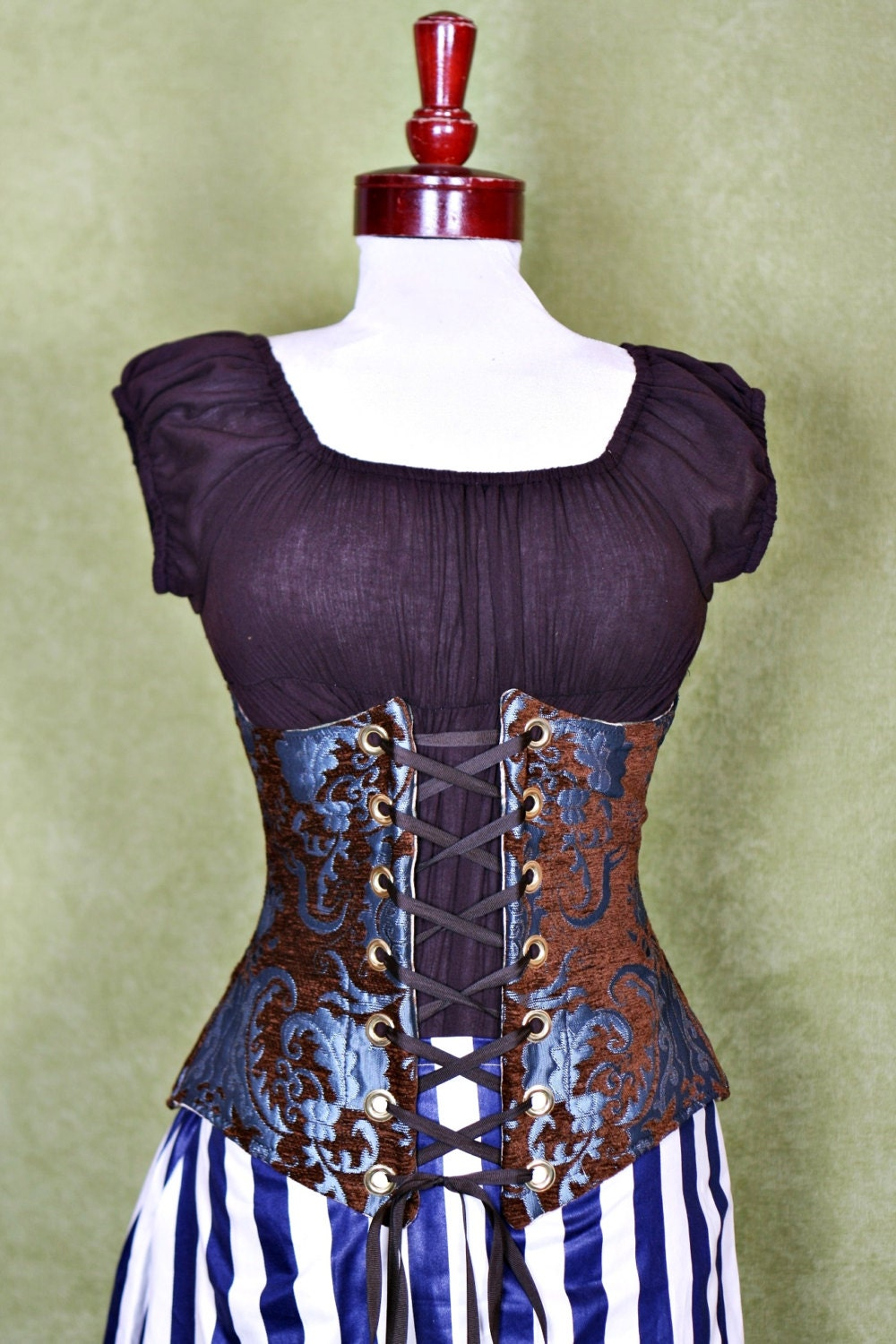 Waist 39 to 41 Chocolate & Teal Medallion Wench Corset steampunk buy now online