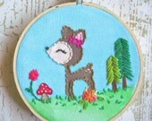 Embroidered Art Hoop - Whimsical Fawn
