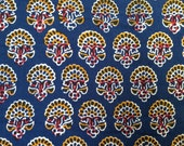 Navy blue floral  fabric, Indian fabric, cotton yardage