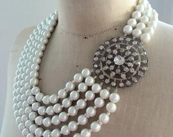 SALE Vintage Wedding Necklace, Bridal, Pearl, rhinestone, Antique  - Tsarina