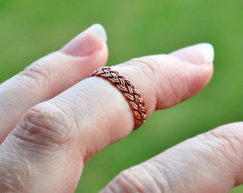 Celtic Copper Braided Ring Size 5.75 Solid Bright Shiny Copper Braid Handmade Thin Lightweight Band for Arthritis Finger Joint Pain