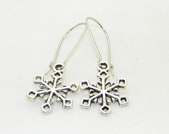 Antique silver snowflake charm dangle earrings, Christmas earrings, Winter earrings, Stocking stuffers, Gift for her, Whimsical jewelry