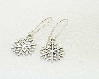 Antique silver snowflake charm dangle earrings, winter, christmas, jewelry