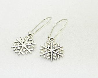 Antique silver snowflake charm dangle earrings, Christmas earrings, Winter earrings, Stocking stuffers, Gift, Whimsical Jewelry