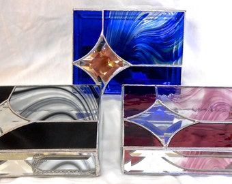 Stained Glass Jewelry Boxes, Baroque Times Three, Made-to-Order, For Wedding Attendants or Special Occasion