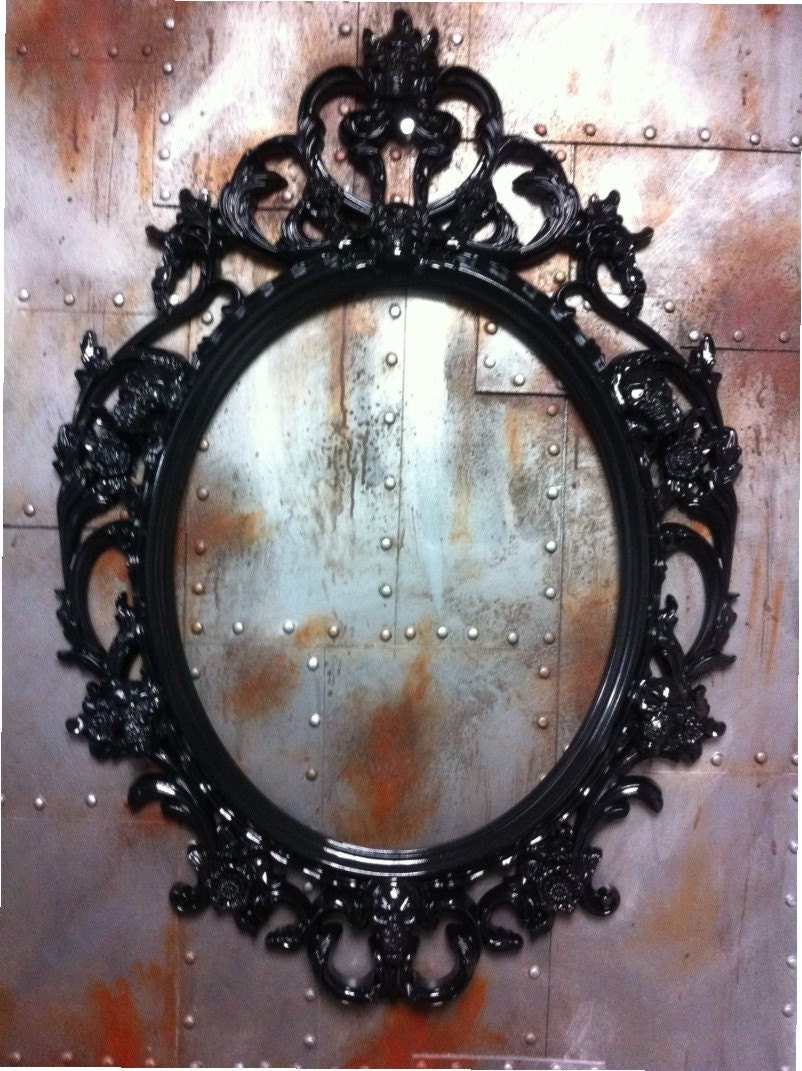 Gloss Black Skulls Oval Picture Frame Mirror Shabby Chic