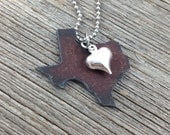 I Love TEXAS Necklace | SMALL Rustic Recycled Metal State Outline Shape  Tiny Silver Heart
