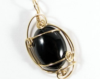 Black Onyx Wire Wrapped Pendant 14k Gold Filled