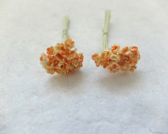 40 5mm mulberry yellow orange tiny gypsophila - paper flowers