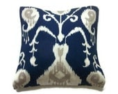 Decorative Pillow Cover Navy Blue White Taupe Ikat Design Same Fabric Front/Back Toss Throw Accent 18x18 inch x
