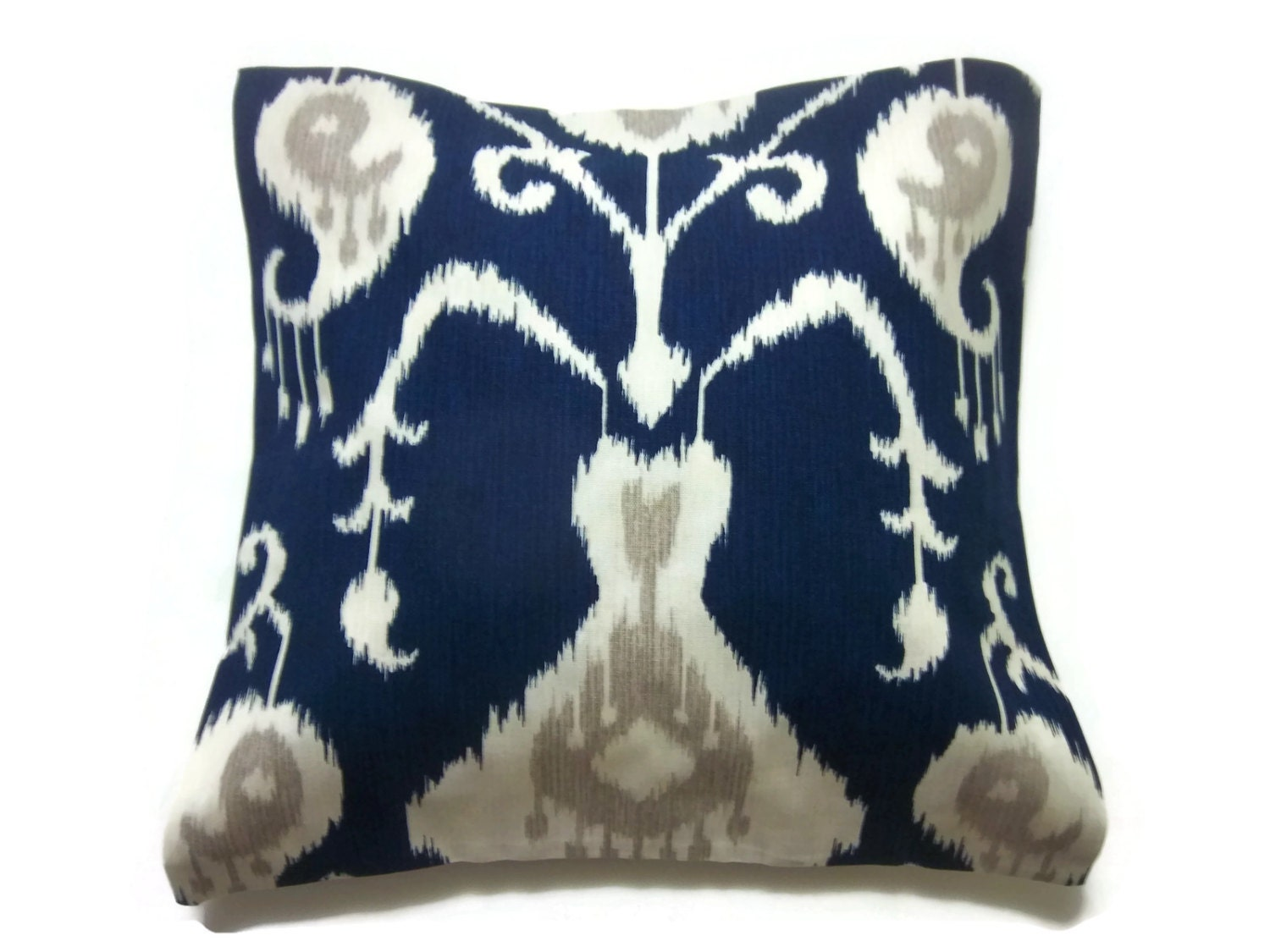 Decorative Pillow Cover Navy Blue White Taupe Ikat Design Same