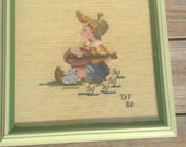 Vintage needlepoint framed embroidery picture little boy musician guitar petit point singer singing child hand stitched nursery decor