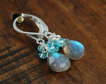 ELLA EARRINGS Sterling silver and labradorite with apatite, labradorite, and quartz crystal