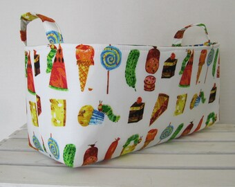 Long Diaper Caddy - Storage Container Basket Organizer Bin - Made with Licensed Very Hungry Caterpillar Fabric