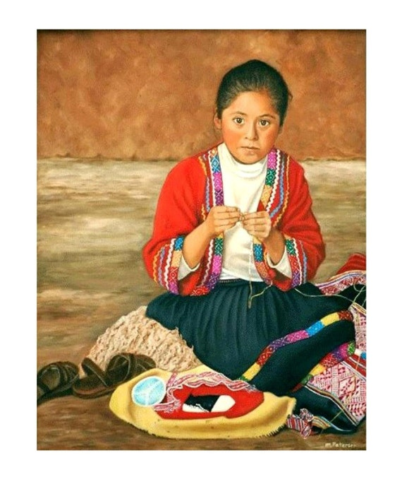 Original Art Best in Show Award NC Double Take Contest Peruvian Child Oil on Canvas Children Craft Trim Maker Seller Original Art Framed