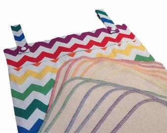 Rainbow Chevron kitchen set - Unpaper towels and hanging wet bag starter kit