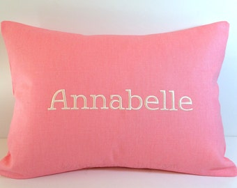 Embroidered Custom Baby Name PIllow Cover to fit a 12x16 insert. Monogram Name Pillow Cover. Decorative Pillow. Baptism Gift. Nursery Decor