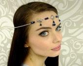 Midnight Black Silver Circlet, Elven Circlet, Midnight Blue, Renaissance Headpiece, Medieval Circlet, Headpiece, LOTR, LARP