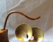 Brass bowl earrings with asymmetrical circle