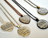Custom Classic Book Necklace - Recycled Book Jewelry
