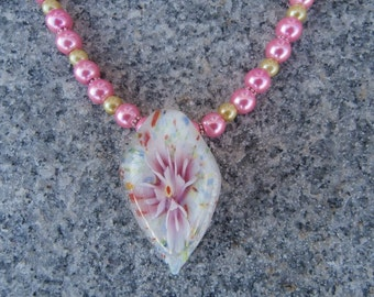 Pink And Yellow Glass Pearl Pendant Necklace
