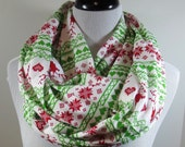 Red n green Christmas Reindeer knit jersey infinity scarf- women autumn fall winter cowl neck shawl cotton fashion gifts