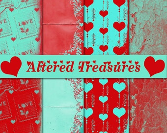 Retro Love Digital Paper Pack Valentine Instant Download