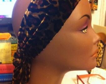 Leopard Cheetah Luxe Velvet Headband with Sash