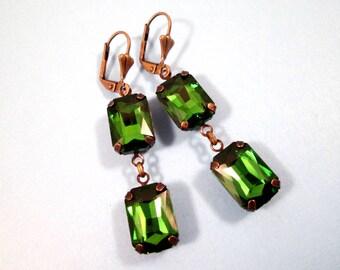 Rhinestone Drop Earrings, Emerald Green Glass Rhinestone and Brass Dangle Earrings, FREE Shipping U.S.