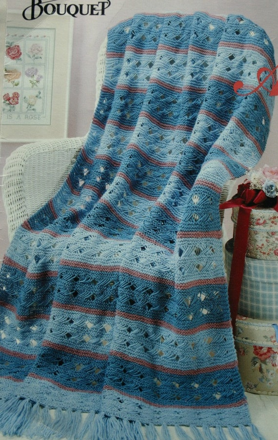 Knit Afghan Patterns Worsted Weight : Afghan Knitting Pattern Bouquet 1304 Blanket Worsted Weight