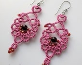 Lace earrings pink tatted with beads featured in Belle Armoire Jewelry