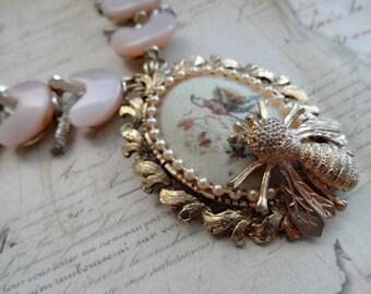 Bee Necklace, Statement Necklace, Assemblage Necklace, Revamped Vintage Necklace,Preservation Necklace,Blush Necklace, OOAK Necklace