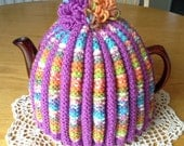 Violet and Pastels  Mix Knitted Tea Cosy