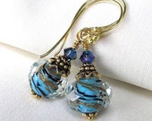 Blue and Gold Lampwork Earrings, Artisan Foiled Boro Glass, Bali Gold Vermeil, Swarovski Crystals... Delicate Drops