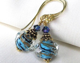 Blue and Gold Lampwork Earrings, Artisan Foiled Boro Glass, Bali Gold Vermeil, Swarovski Crystals - September Gift for Her