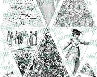 ART TEA LIFE Jane Austen Dances banner collage sheet scrapbook journal streamer party desk office decoration adult coloring clip art flags