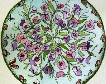 Sweet Peas and Friends Mandala watercolor and pen original painting