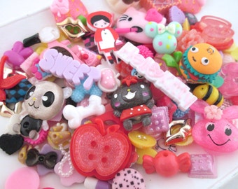 25pc kawaii cabochons, assorted mix grab bag of cuteness