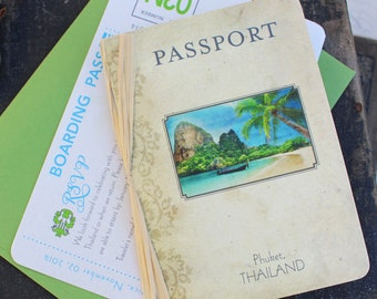 Mini Vintage Passport Wedding Invitation (Phuket, Thailand) - Design Fee