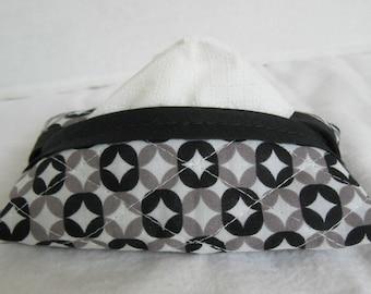 Modern Quilted Tissue Holder - Pocket Size Tissue Cozy -  Black Grey Pocket Tissue Case - Purse Tissue Case