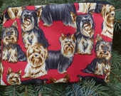Yorkie zip bag, makeup bag, zippered bag, Yorkshire Terriers on red, The Scooter