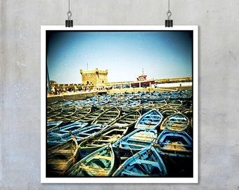 Fishing Boats Essaouira Morocco traditional blue green fishing boats Morocco home decor Fine Art Photo Print big print poster square holga