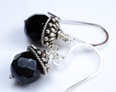 Faceted Onyx and Ornate Silver Earrings