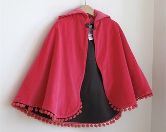 Pink Velveteen Hooded Cape Toddler Girls Cape with Heart Clasp, Ball Fringe, and Fleece Lining - Size 3/4 - cape, cloak, coat, jacket