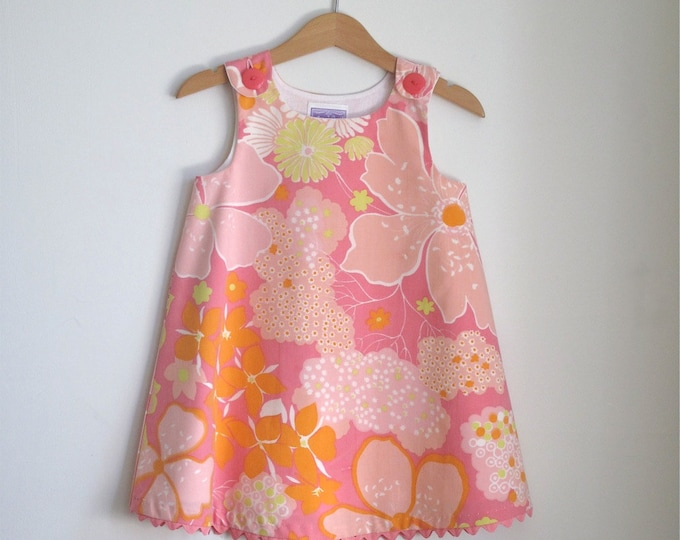 Girls' Hawaiian Luau Pink & Orange Floral Dress, Tropical Dress, Beach Dress, Hawaiian Dress, Luau Dress, Sundress, Sizes Newborn to Size 6