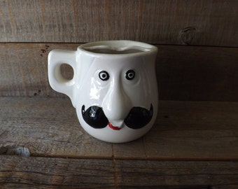 Mans Shaving Mug, Novelty Shaving Cup, Mustache Cup, Mens Grooming, Face Mug