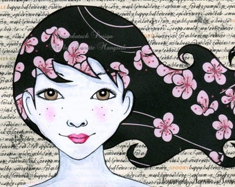 Elsa - Original illustration - Girl with cherry blossom hair , collage , mixed media original artwork