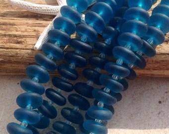 Sea glass 12x4mm bead-seaglass- glass rondelle -drilled beach glass-teal beach glass -14pc-bottle glass-sand glass-sea glass jewelry-sea