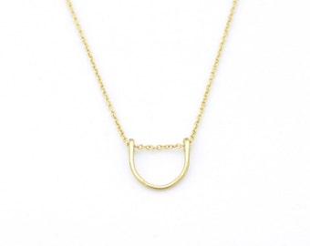 Small U necklace - gold arc necklace - tiny horseshoe necklace - minimalist jewelry - delicate gold necklace - simple gold necklace